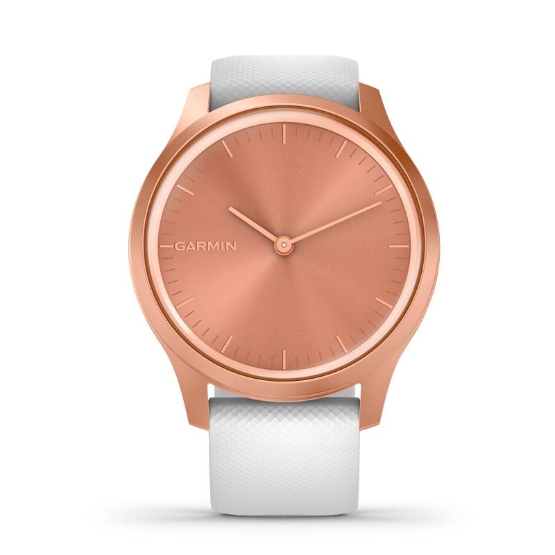 Reloj Garmin vívomove Style de aluminio rosado y correa blanca, 010-02240-00.