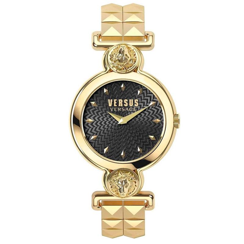 Reloj Versus Versace Sunnyridge de mujer dorado con esfera negra, VSPOL3418.