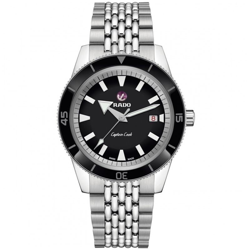 Reloj Rado HyperChrome Captain Cook en acero con esfera negra y correas extras, R32505158.