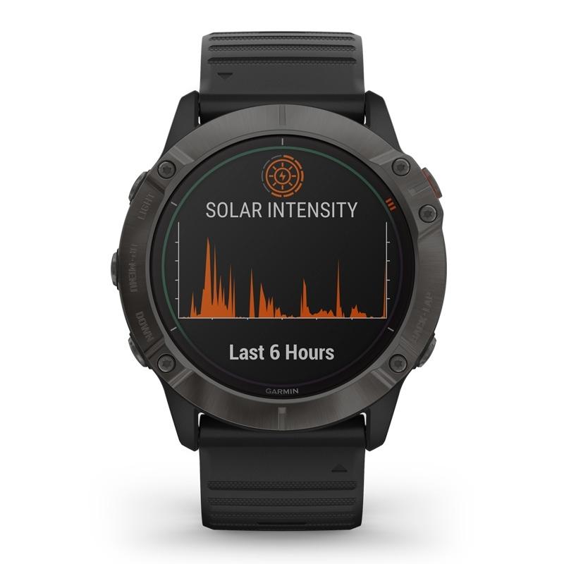 Reloj Garmin fēnix 6X Edición Pro Solar en titanio revestimiento DLC y correa silicona negra, 010-02157-21