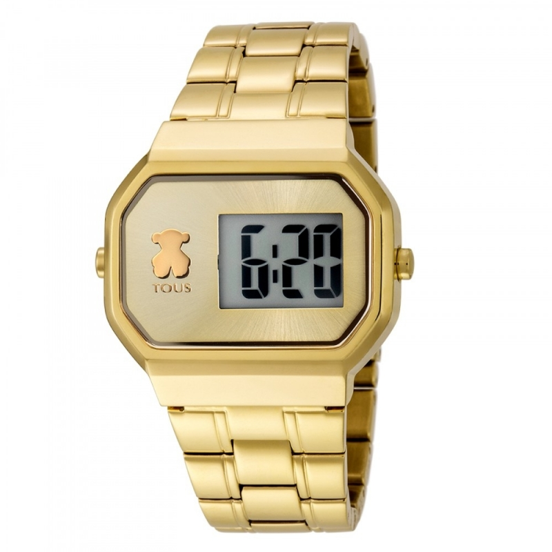 Reloj Tous de mujer D-Bear digital, dorado en oro amarillo, de estilo retro 600350300