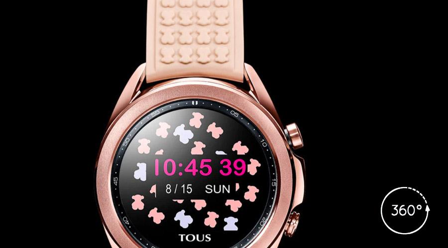 Visión del Reloj Inteligente Tous By Samsung Galaxy Watch3 En Acero Bronce Y Correa Silicona Nude, 100350480 en 360 grados